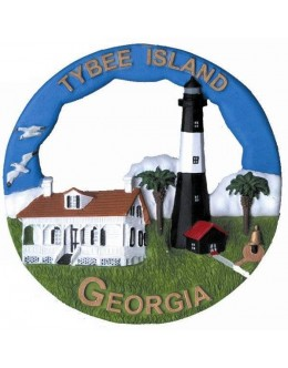 140RO Tybee Island, GA Lighthouse Round Ornament