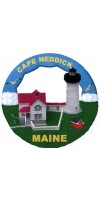 114RO Cape Neddick, Nubble, ME Lighthouse Round Ornament