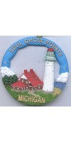 166RO Seul Choix Pointe, MI Lighthouse Round Ornament