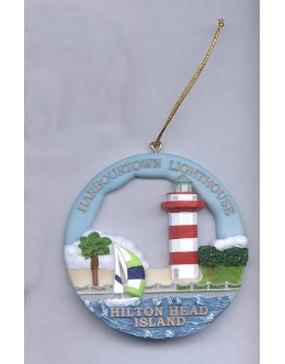 SI018 Hilton Head, Harbour Town, SC Lighthouse Round Ornament