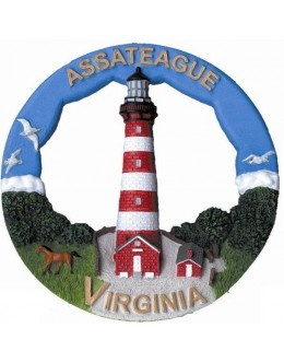 106RO Assateague, VA Lighthouse Round Ornament