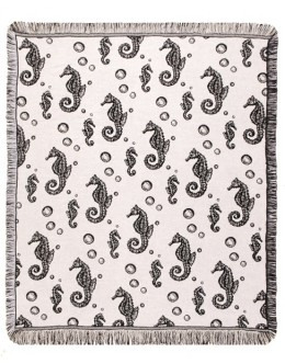 Seahorses - Black - Mid-Size Tapestry Throw