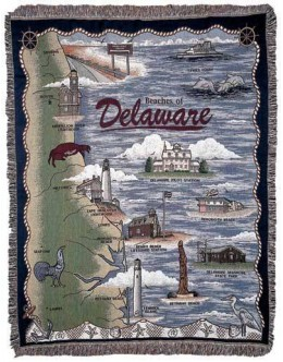Beaches of Delaware Mid-Size Tapestry Throw