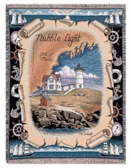 Nubble Light, ME Lighthouse Mid-Size Tapestry Throw